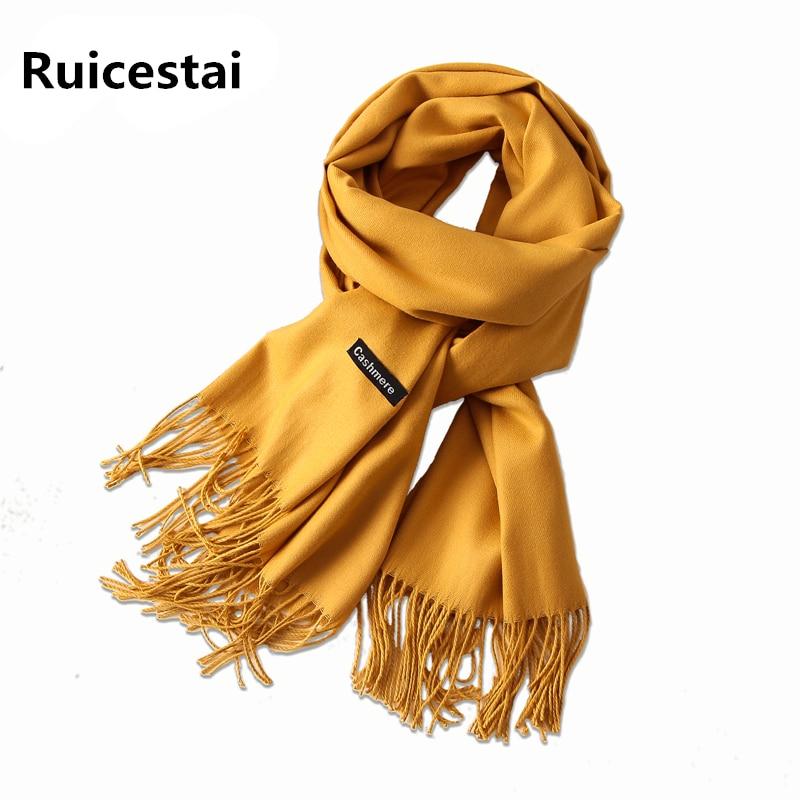 Caliente 2018 más cálido invierno mujer bufanda sólido suave cachemira bufandas chales de señora pashmina envuelve echarpe femenino foulard bandana femenino