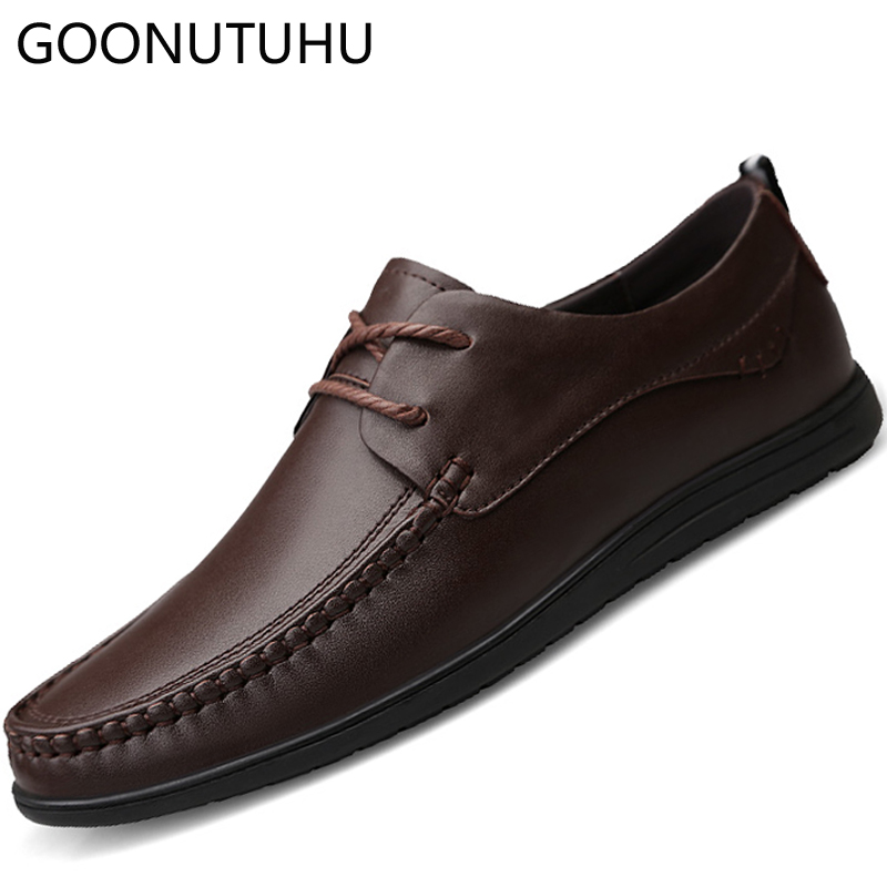 eb874ce3c Tamanho Para Sapato 38 Clássico Da Apartamentos Black brown Até  Confortáveis Marrom Sapatos Moda De 44 Genuíno Casuais Rendas Couro Preto  Os Homens ...