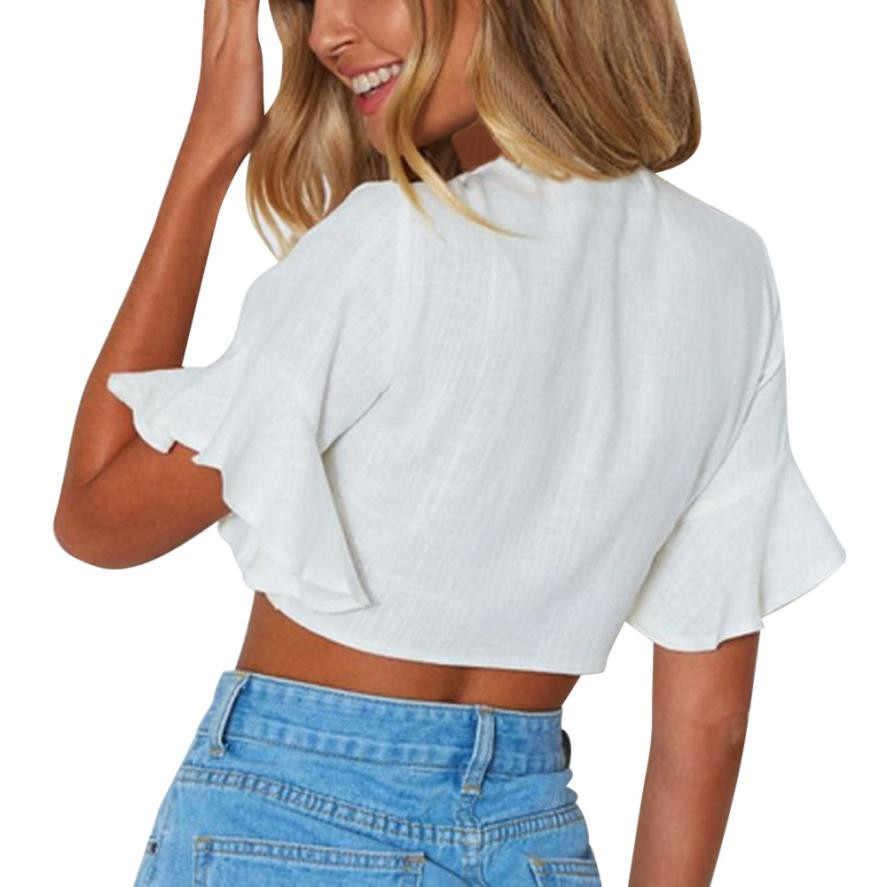 ผู้หญิงแฟชั่นลำลอง Crop เสื้อเสื้อ Flare Sleeve เสื้อยืดฤดูร้อนสำหรับผู้หญิง 2019 TOP Cropped สำหรับผู้หญิงโบว์
