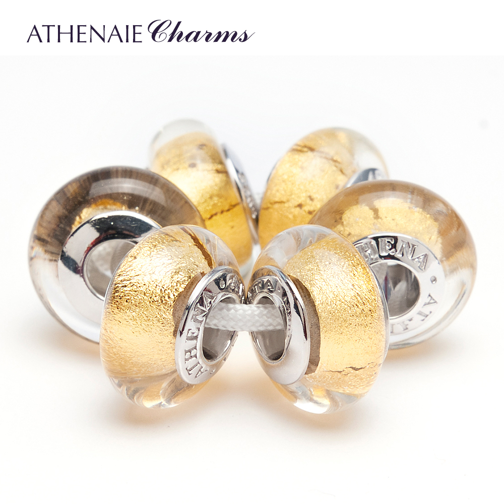 ATHENAIE 925 Sterling Silver Core Gole Foil Charm Beads Kits Fit For European Bracelets and Necklaces