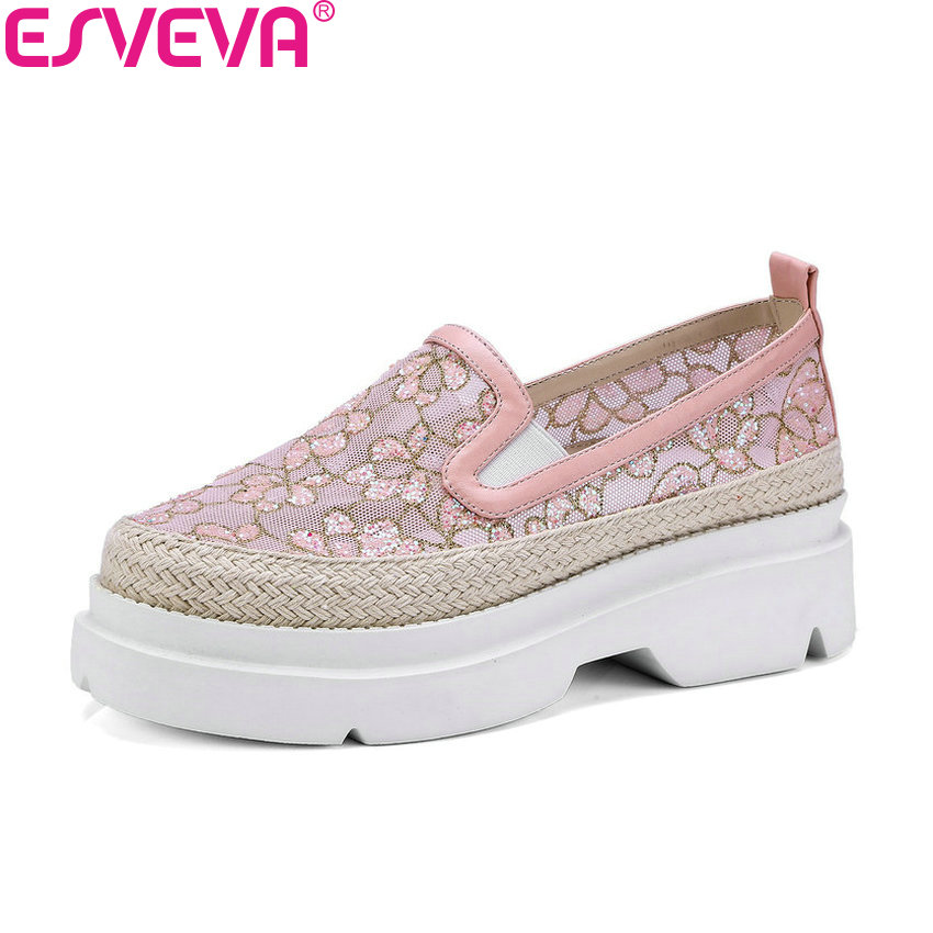 ESVEVA 2018 Women Pumps Sweet Style Lace Platform Casual Square Heel Slip on Round Toe Appointment Ladies Pumps Shoes Size 34-39 nayiduyun women genuine leather wedge high heel pumps platform creepers round toe slip on casual shoes boots wedge sneakers