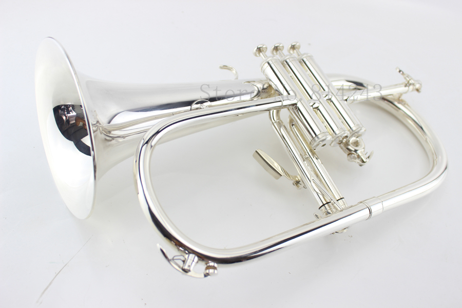 Custom Flugelhorn Silver-plated B Flat Bb Professional Trumpet Top Musical Instruments in Brass Trompete Horn professional silver gold plated marching french horn bb monel valves with case