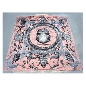 Image 4 - Nadrukowana moda 100% jedwabny szal kobiety duży kwadratowy jedwabny szal szal okłady peleryna luksusowe ręcznie walcowane 106cm kobiece prezenty