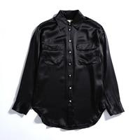 Women 100% Silk Shirts with Pearl Button Long Sleeve Turn down Collar