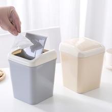 1pc Creative Desktop Swing Cover Trash Plastic Multifunctional Paper Basket Living Room Garbage Storage Barrel Trash Can Mini