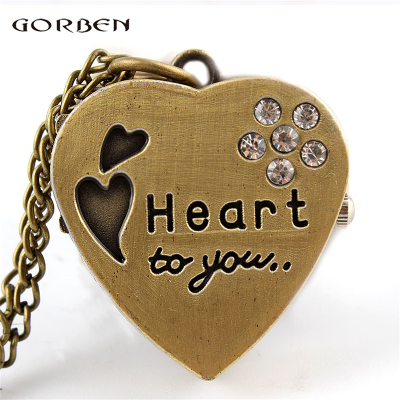 I LOVE YOU Heart Small Mini Pocket Watch Quartz Necklace Bronze Crystal Pendant Clock Fob Chain Watches For Women Gift Present