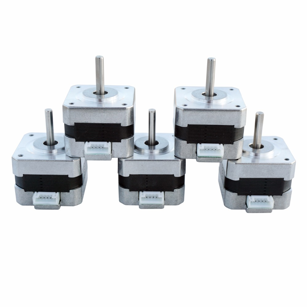 USA EU AU Stock 5PCS NEMA 17 Stepper Motors Kit 12V for CNC Reprap 3D Printer 36.8oz.in 0.4A