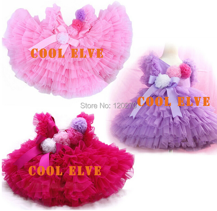 Summer Baby Girls Princess Dress Bow Lace Flower Cake Tutu Children Layered Kids Chiffon Tiered - Honey Baby's store