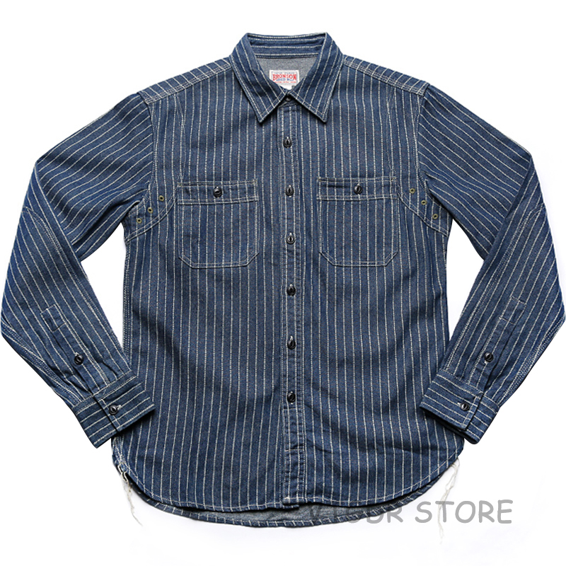 Non Stock Wabash Stripe Work Shirt Vintage Denim Vent Hole WorkShirts For Men
