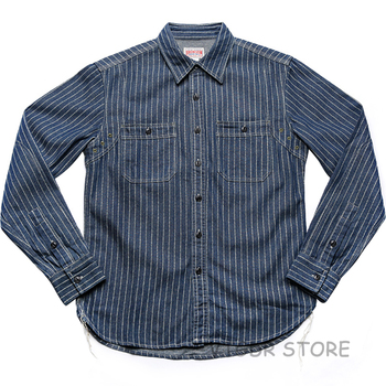 Non Stock Wabash Stripe Work Shirt Vintage Denim Vent Hole WorkShirts For Men