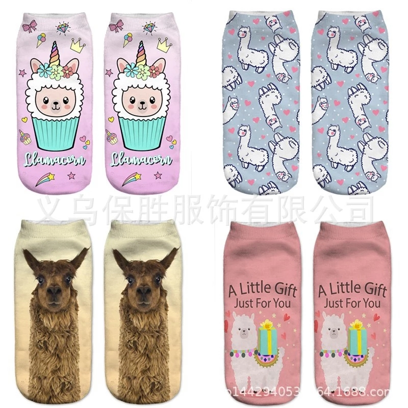 New Lovely Cartoon Alpaca Pattern Woman Boy And Girl 3D Printing Socks Drop Shipping