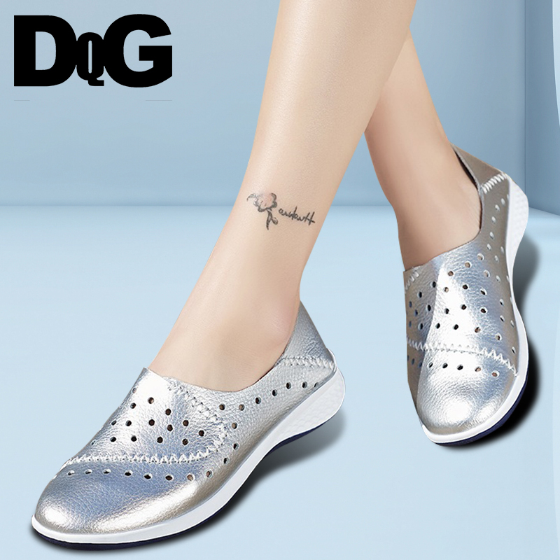 DQG 2018 Summer Women Shoes Casual Leather Zapatos Mujer Loafers Slip On Flats Hollow Scarpe Donna Walking Chaussures Femme cresfimix zapatos women cute flat shoes lady spring and summer pu leather flats female casual soft comfortable slip on shoes