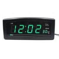 Автоматическое изменение яркости день/ночь будильник LED Температура время Дисплей настольные часы родители как ЕС Plug часы