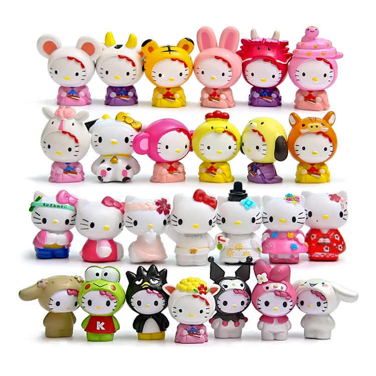 Cartoon Hello Kitty Multi Styles 26pcs/set Kawaii 4~5cm Toys Dolls Anime PVC Action Figure Children Gifts Free Shipping