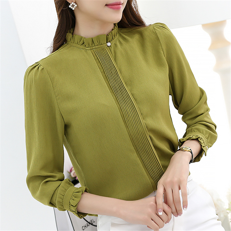 2016 New Women Blouse Chiffon Solid Shirt Stand Collar Plus Size Casual Fashion Blouse Long Sleeve Slim Women Shirts 56C 30
