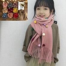 VISROVER, 9 цветов, Осень-зима, унисекс, детский кашемировый шарф с большими кисточками и помпоном, Детские теплые шарфы для шеи, мягкий снуд на ощупь