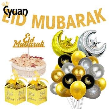 EID MUBARAK Decoration Banner Glitter Islam Bunting Garland Eid Mubarak Balloon Gift Box Ramadan Mubarak Party Decoration – Twizamart.com