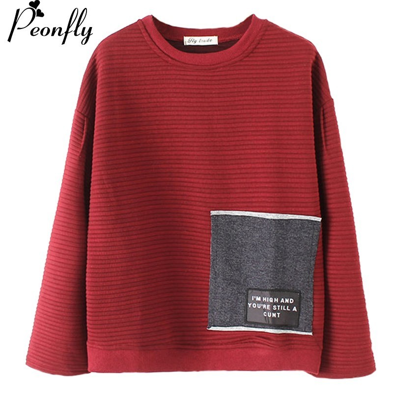PEONFLY Women Pullover and Sweaters Oneck Knitwear Korean Sweater and PulloverIrregular  ...