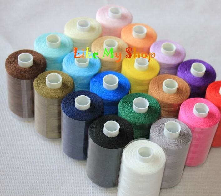 Высокопрочная полиэфирная швейная нить машина/нитки для ручного шитья 1000 ярдов x 20 основных цветов