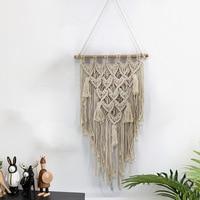 Macrame wall art handmade dyed cotton wall hanging tapestry and lace fabric Bohemia tassel boho home decor Wall Decor