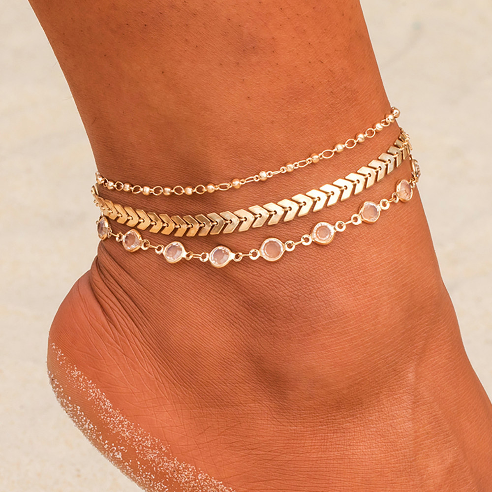 Bohemian Crystal Sequins Anklet Set Fashion Handmade Ankle Bracelet for Women Summer Foot Chain Beach Barefoot Jewelry