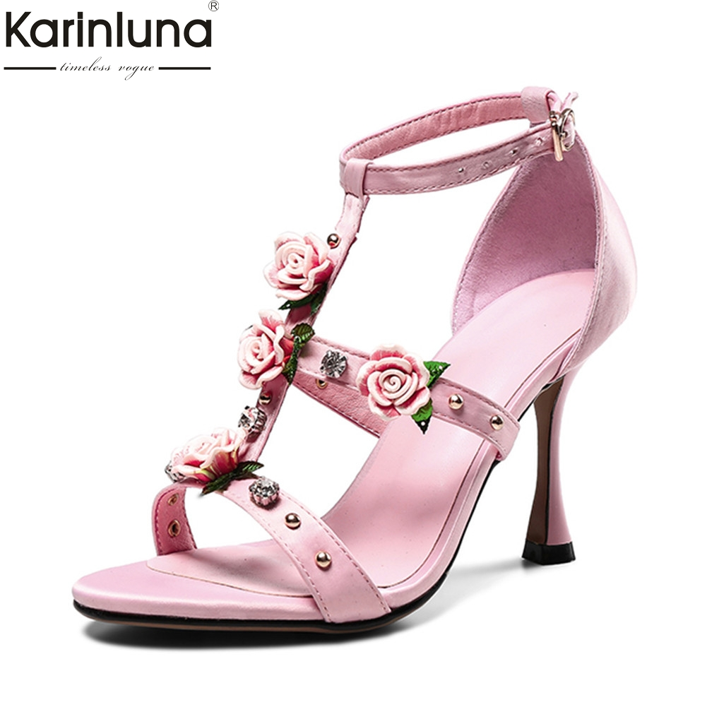 KarinLuna 2018 Brand Big Size 33-43 Best Quality Sweet Flowers Summer Sandals Woman Pumps Princess Party Wedding womens Shoes