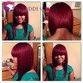 Чистый burg полный шнурок человеческих волос парики с китайскими bangs для черных женщин Рождество новая мода 16 дюймов Малайзии девы волос парик