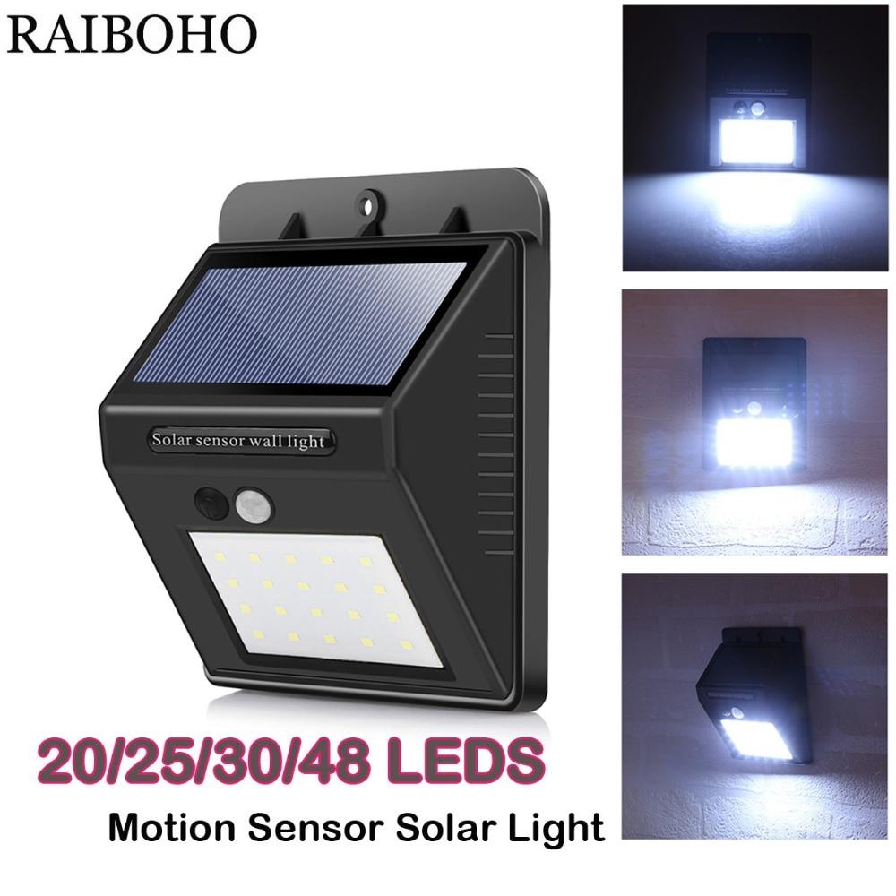 30//48 LED Solar Powered PIR Motion Sensor Security Lights Garden Outdoor Lamp