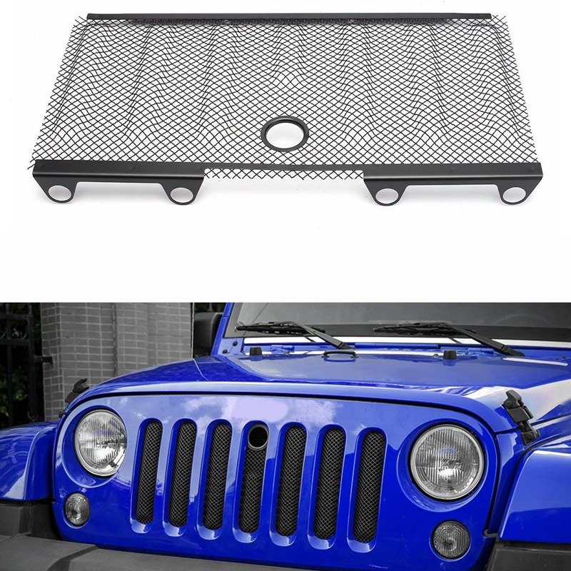 4x4 auto accessories wrangler jk 3D insect nets mesh grille black steel for 2007 2015 Jeep