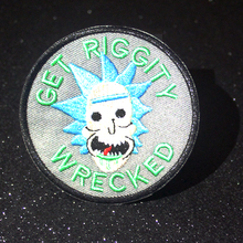 цена на DIY Rick and Morty Patch Embroidery Patches Iron On Patches For Clothing Cartoon Oil Bottle Patch Appliques Stripes On Clothes