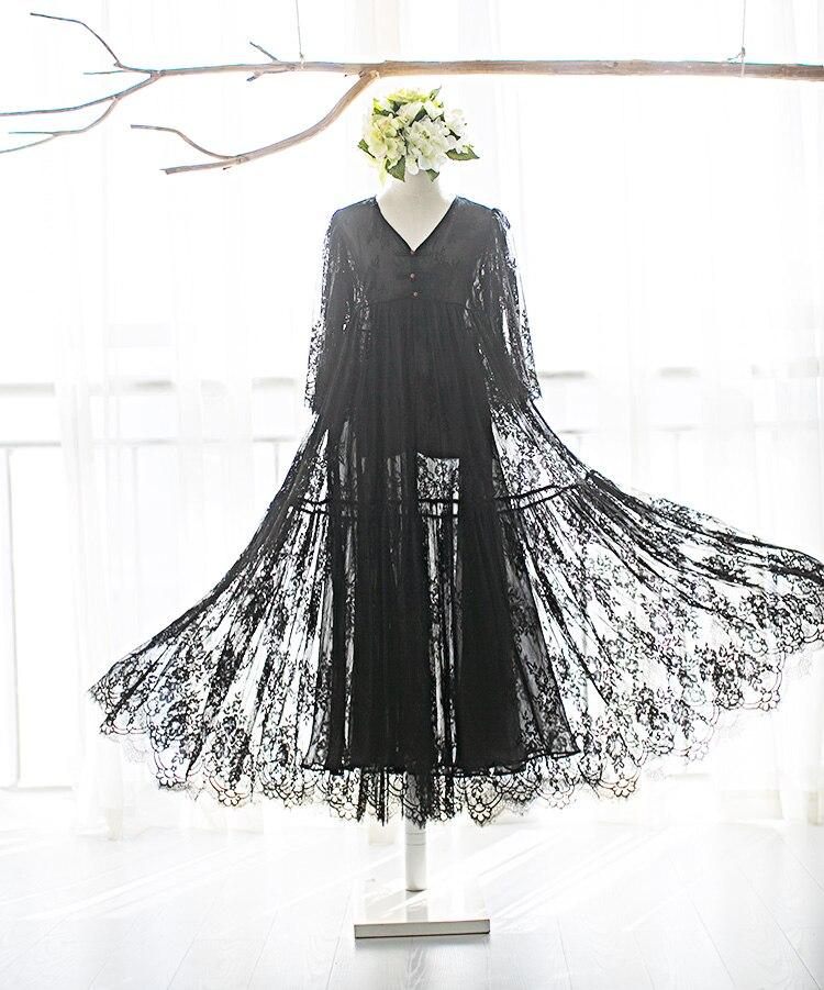 MM132 Nieuwe Collectie Zomer 2017 drie kwart mouw v hals grote bottom vintage elegante lange maxi wimper kant jurk zwart wit - 5