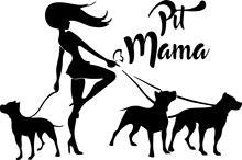 Tshirt Rocket Pit Mama Pitbull Decal - 3 PITBULL Dogs Vinyl Car Decal, Laptop Window Sticker (10, Black)