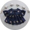2016 nova verão crianças meninas princesa Lace Flower Dress 0 - 3 vestido de bebê