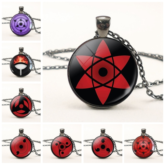 uchiha clan sharingan eyes anime naruto necklace balck chain