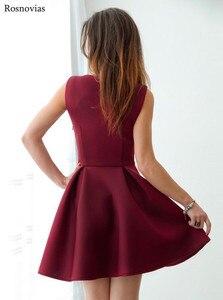 Image 5 - 부르고뉴 짧은 댄스 파티 드레스 2020 v 넥 사이드 지퍼 무릎 길이 동창회 파티 드레스 vestido de fiesta cheap customized