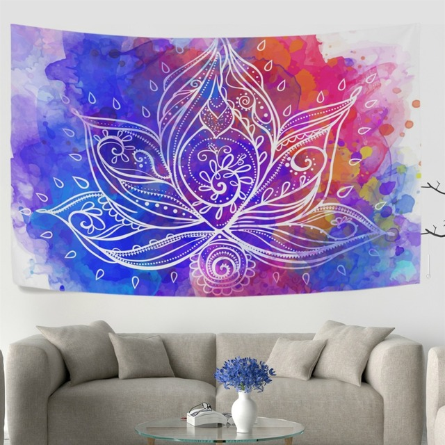 Ornamental Boho Style Lotus Flower Geometric Wall Tapestry Dorm Throw  Bedroom Room Decorative Window Doorway Hanging