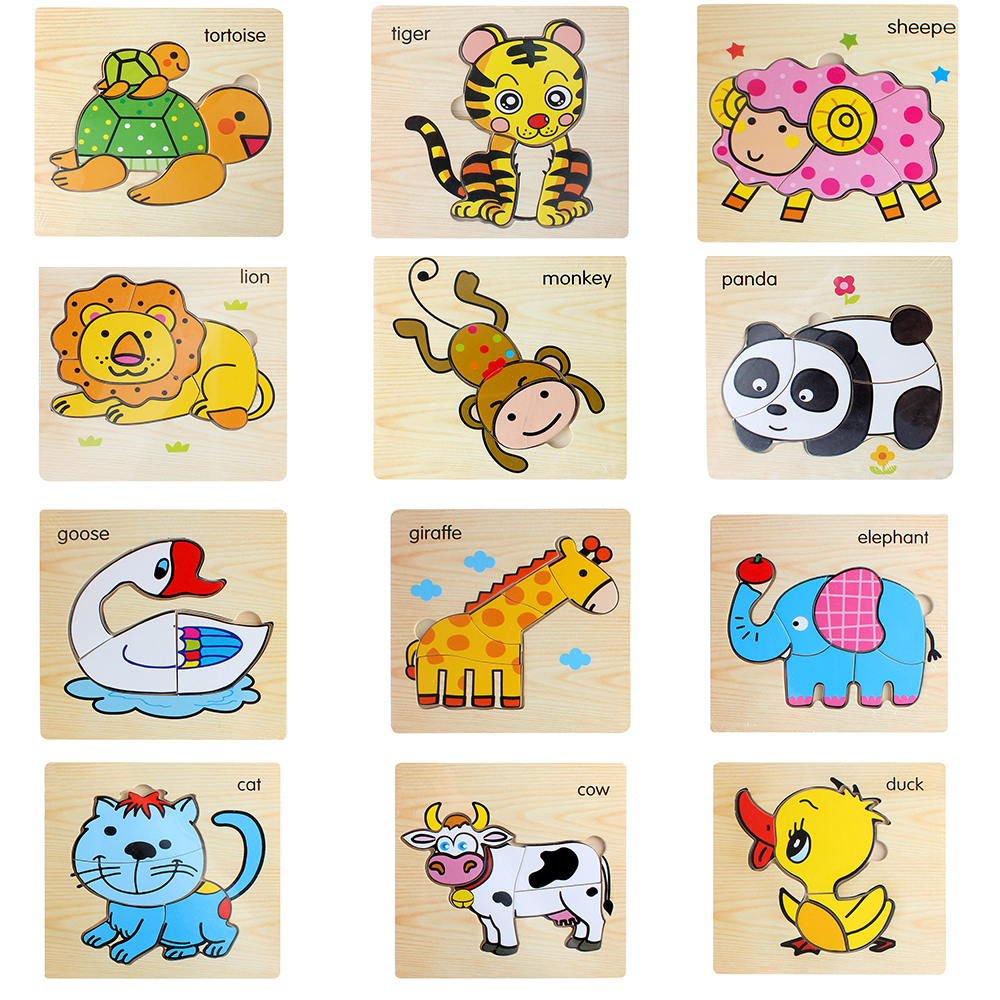Baby Kids Cartoon Montessori Jigsaw 3D Wooden Puzzle Wood Toy Animal Vehicle Vegetable Early Childhood Educational for Children