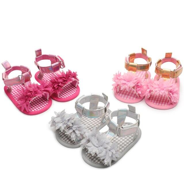87a07f26d2e15 0-18 Months Newborn Baby Girl Shoes Plaid Anti-slip Flower Toddler Crib  Summer First Walkers 2018