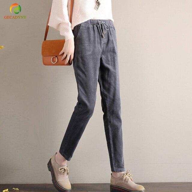 58e43bf97d458 Girls Corduroy Harem Pants Women Trousers 2018 Autumn Winter Loose High  Waist Drawstring Pants Female Thick Trousers Large Size