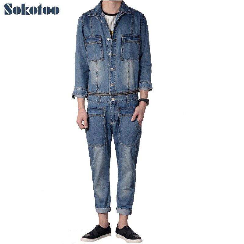 Sokotoo Men's casual full sleeve detachable denim overalls Pockets cargo long   jeans   Jumpsuits