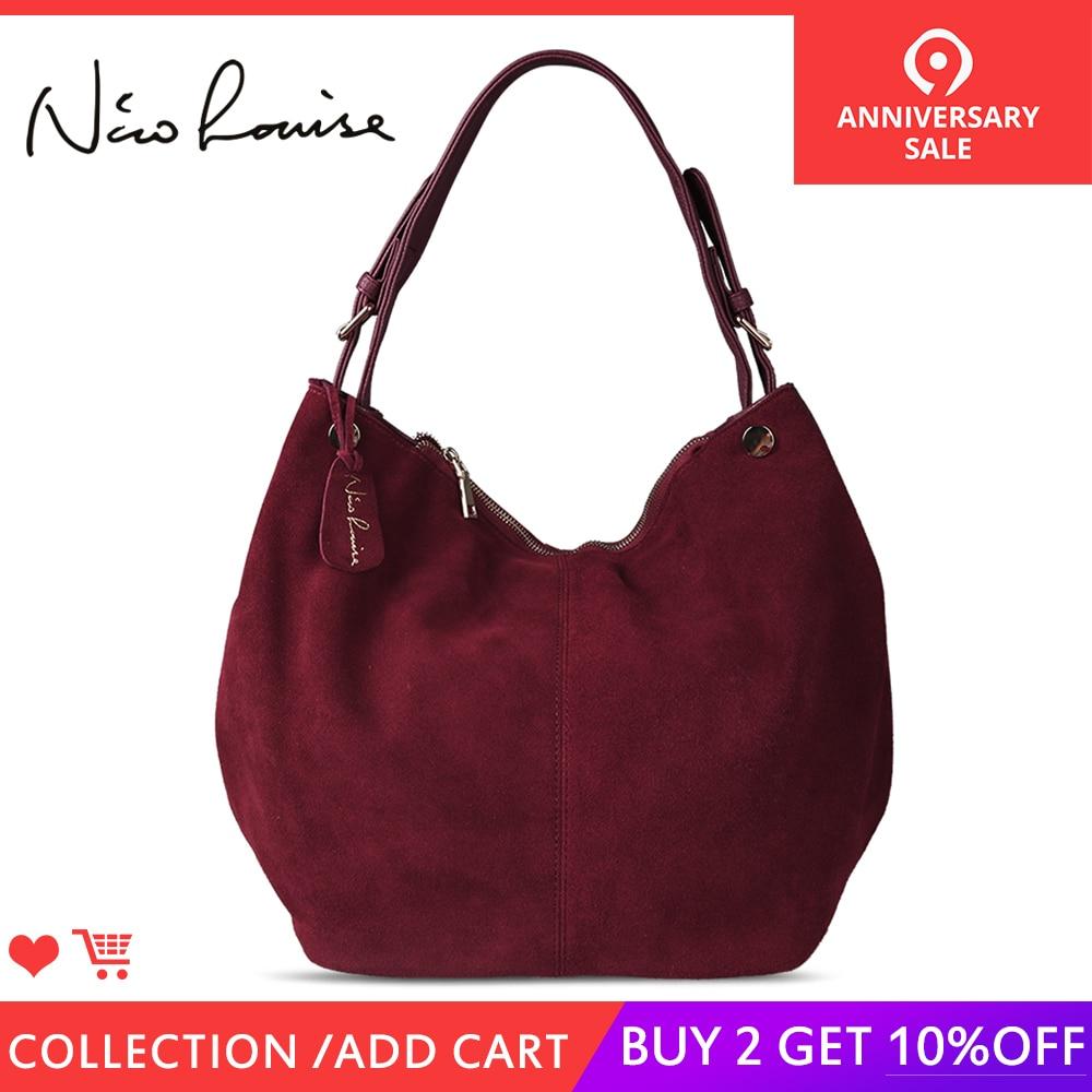 Нико Louise Для женщин реальные Разделение замши кожаная торба, сумка новый дизайн женский досуг большой сумка для шопинга на плечо Повседневн...