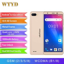 Ulefone S1 yüz kimliği Android 8.1 MT6580 Quad Core Smartphone 5.5 ''18:9 ekran çift arka kamera cep telefonu 3G 3000 mAh cep te...