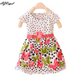 Hot 2015 Muchachas del verano Cabritos del vestido de Ropa Casual Chicas Dot vestido de Vestidos De Niña de las Flores Vestidos Con Arco vestidos de crianças Q27