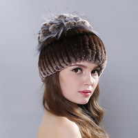 2018 Russian warm beanies hat Rex Fur Beanies real fur hat women causal good caps Skullies Beanies rex rabbit fur hat for women