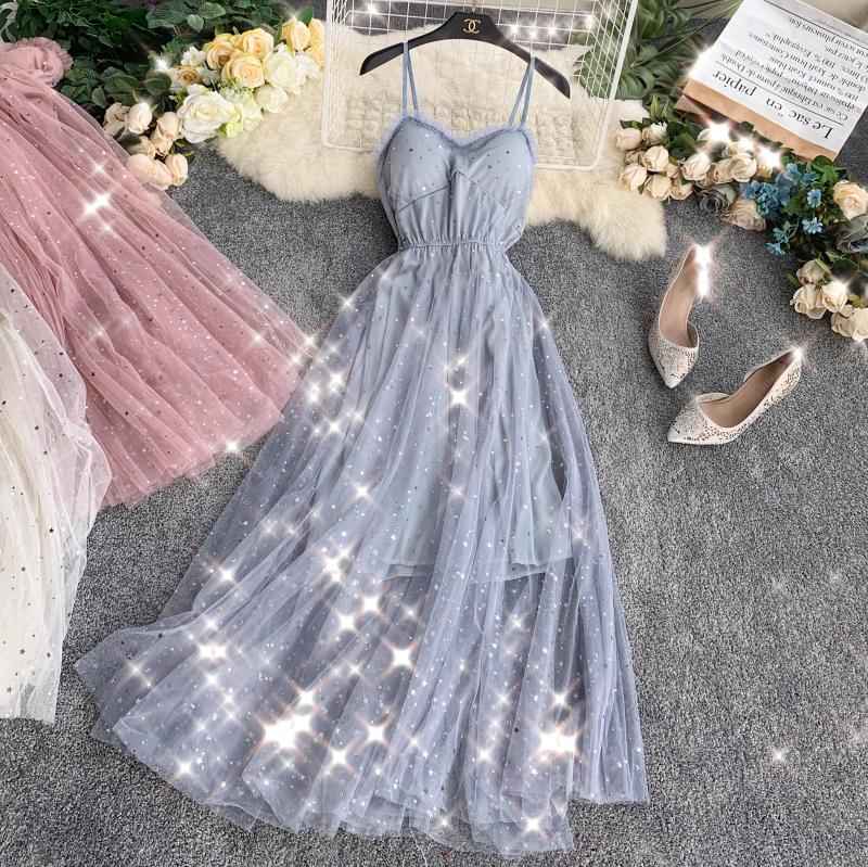 Sequins V-Neck Gauze Ruffles Mesh A-Line Dress 1