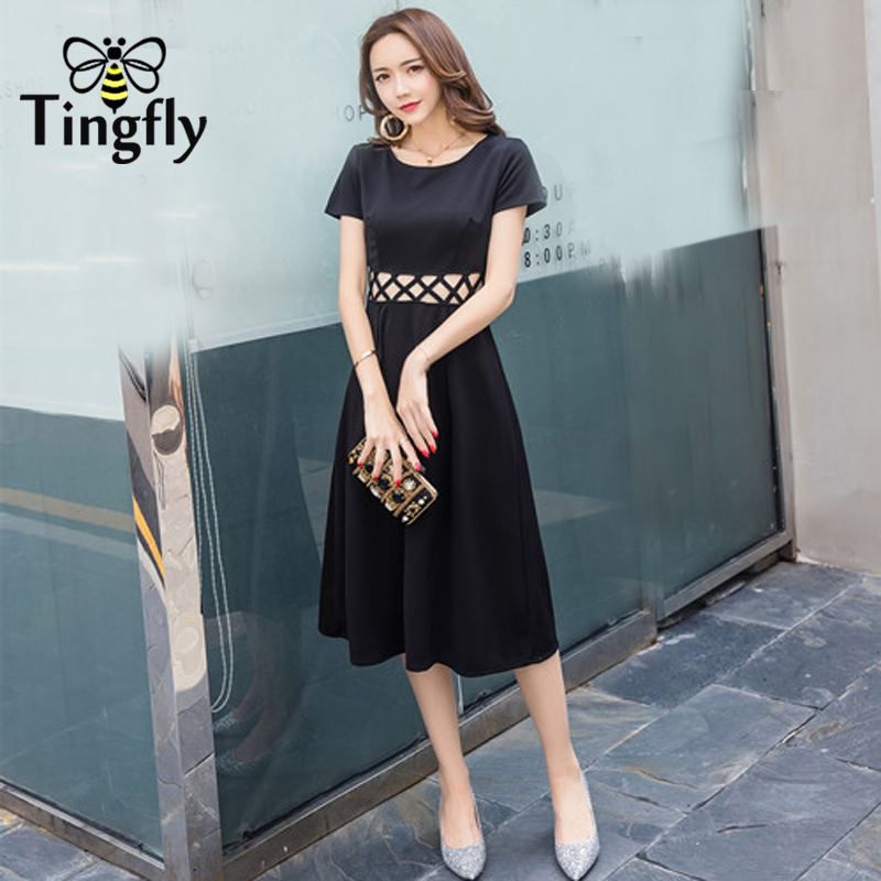 Tingfly Rectro Women Midi Black dress Elegant hollow out slim A line dress  lady party Dresses Vestidos Plus size 2xl-in Dresses from Women s Clothing  ... b693f22a160d