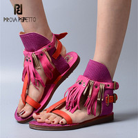 Prova Perfetto 2018 Designer Women Flat Gladiator Sandals Flip Flops Fringed Summer Beach Shoes Woman Sandalias