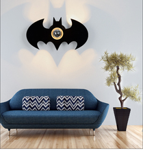 Black Acrylic Bat Wall Light E27 For Bedroom