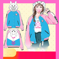 OWT Watch Over D.V.A Hoodies Cosplay DVA Costume Baseball Jacket Dva Autumn Clothes Winter Coats for Girl Halloween Party Gift