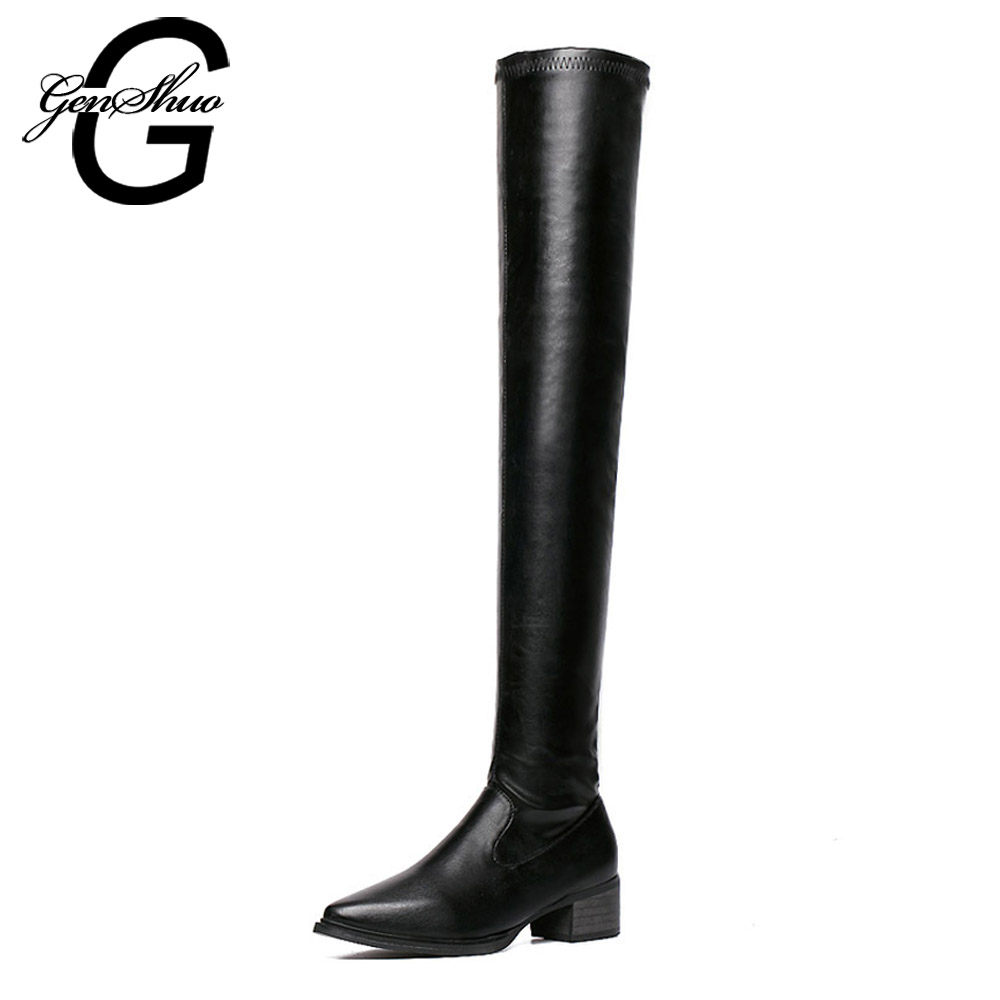 GENSHUO Women Motorcycle Boots Lady Pointed Toe Long Boots Mid Heeled Platform Over The Knee Winter Boots PU Leather Tall Boots enmayer women boots shoes new pointed toe fashion knee high full grain leather winter long boots for women platform motorcycle